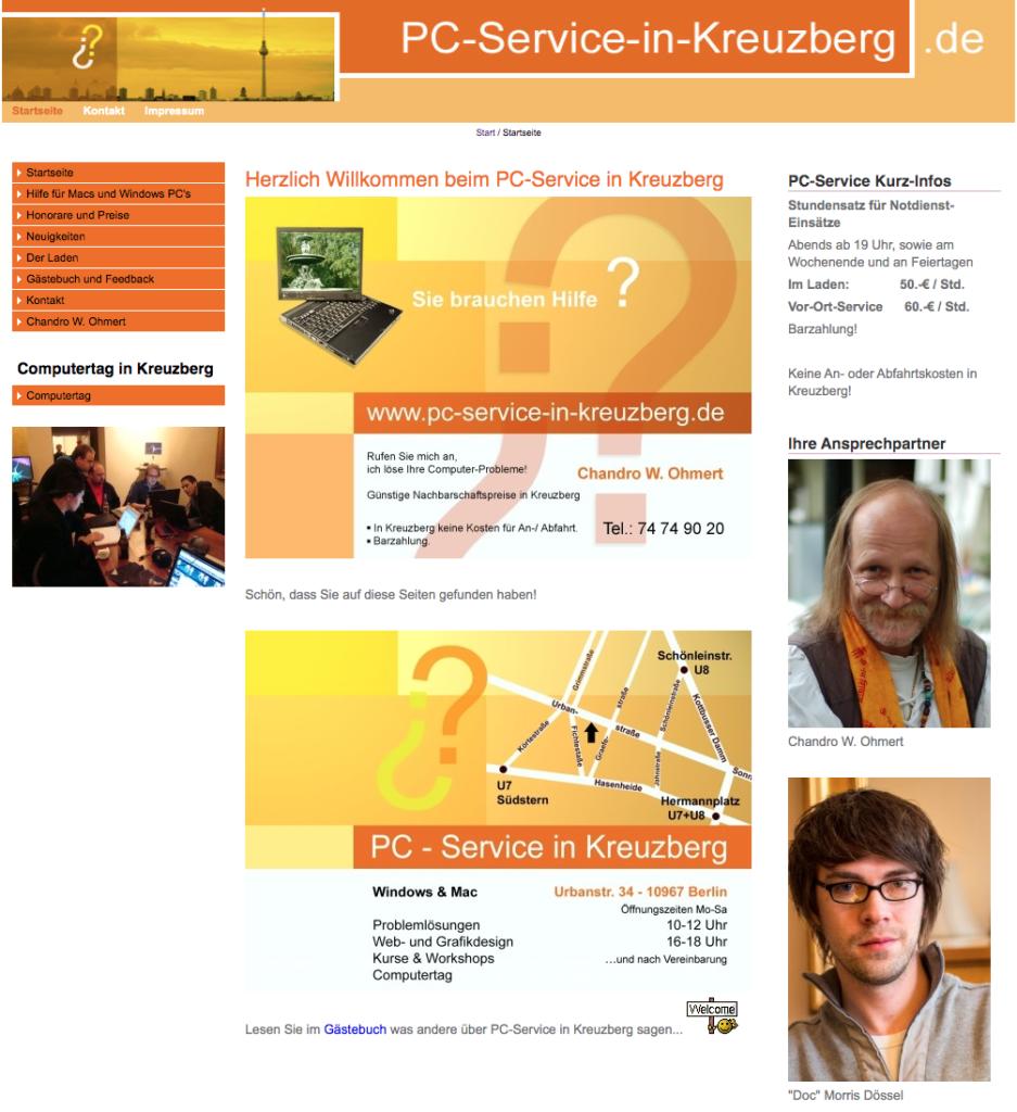 Die alte Website von PC-Service in Kreuzberg 2008-2021